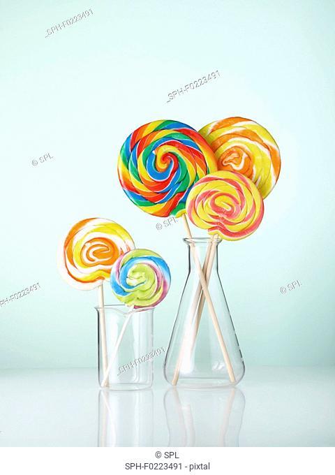 Laboratory glassware with lollipops