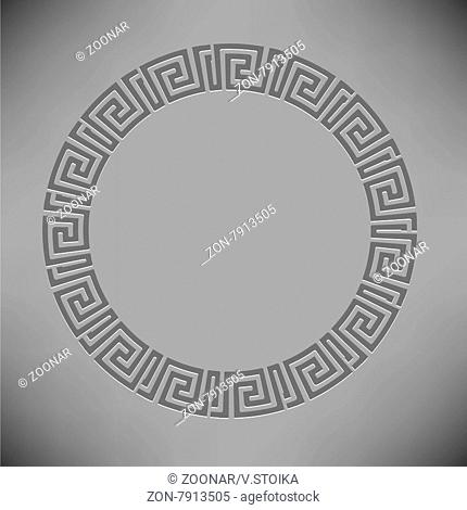 Greek Ornamenal Circle Frame Isolated on Grey Background