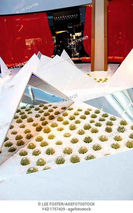 USA Las Vegas, Aria resort on the Strip, with its emphasis on design and outdoor pools  Arcitecture and interior design in restaurant area showing garden