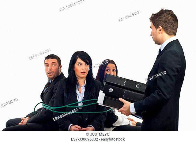 Chief bring more folders to his shocked employees tied in chairs and force them to work overtime