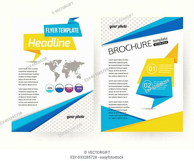 Corporate business stationery brochure template with infographics elements and place for photo. Abstract geometric background for flyer, report