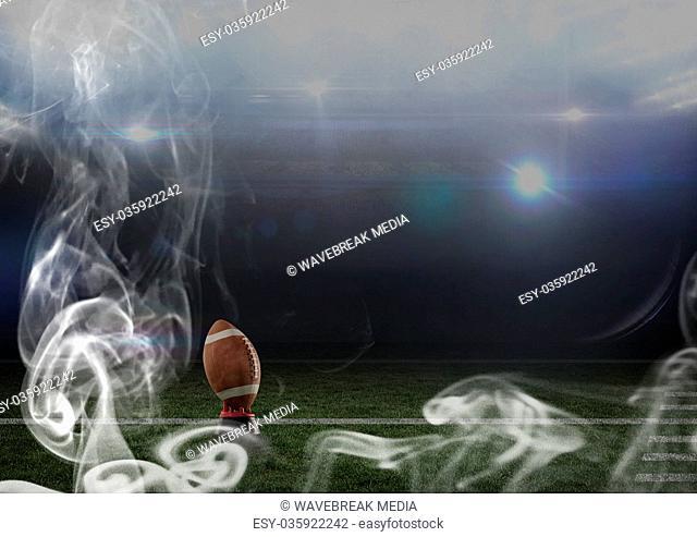 leather american football ball in stadium