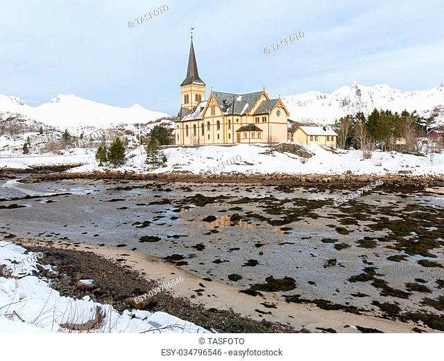Vagan Church or Lofoten Cathedral in Kabelvag, Austvagoy, Lofoten, Norway