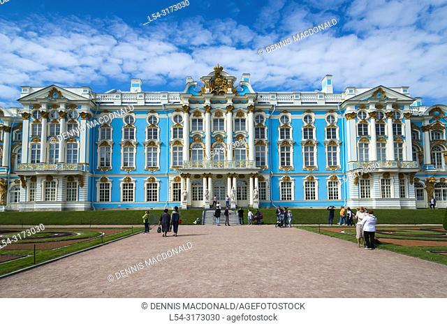 "Catherine's Palace at Pushkin St Saint Petersburg, Russian Sankt Peterburg, formerly (1914â. ""24) Petrograd and (1924â. ""91) Leningrad, city and port"