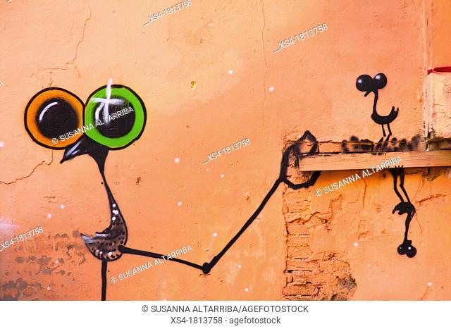 Birds with big surrealists eyes, painted on a wall, graffiti, Valencia, Spain, Europe