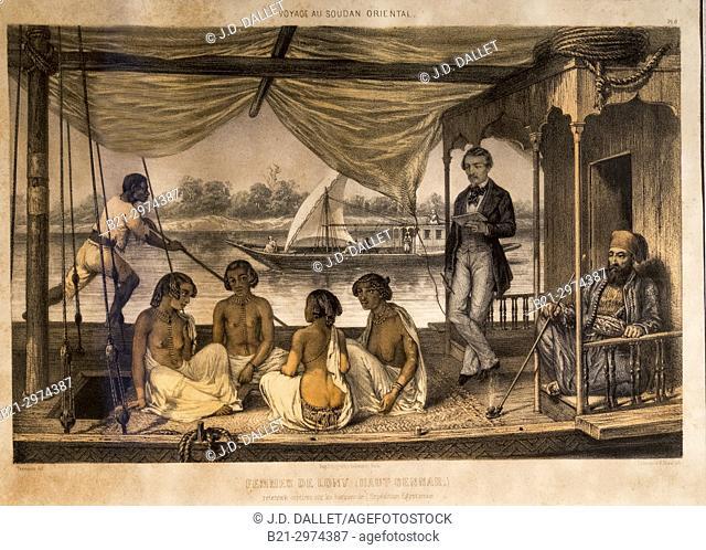 "France, Nouvelle Aquitaine, Dordogne, """"Musée du Tabac"""" (Tobacco museum), a Bergerac: """"Travel to Eastern Sudan"""" (Lonny's women, smoking)"