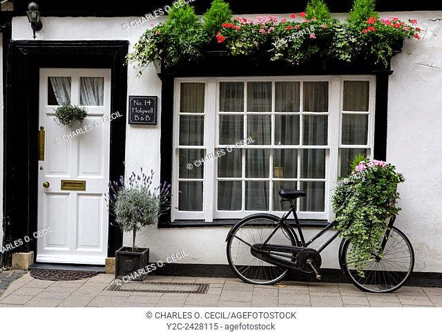 UK, England, Oxford. House and Bicycle on Holywell Street