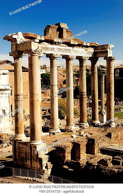 Italy. Lacio. Rome. Roman Forum. Temple of Saturn, his origin dates of the 5th century BC His principal renewal was by Lucius Nunancius Plancus in the year 42...