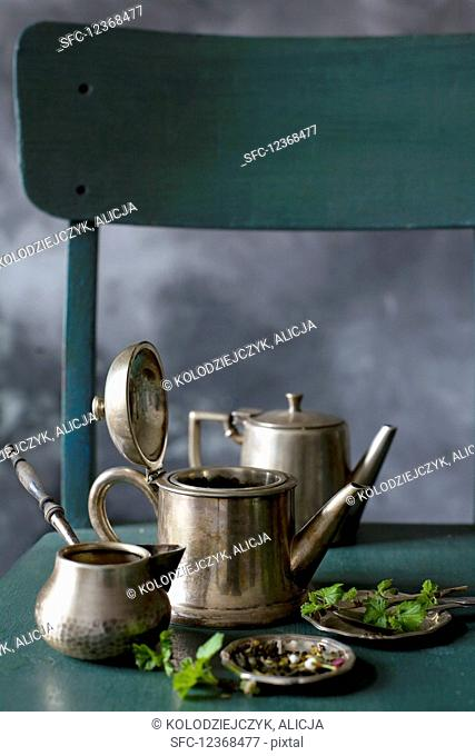 Silver teapots for tea making