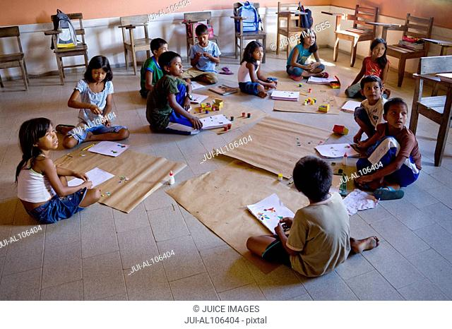 Children in School in Cuxiu Muni, Amazon River, Brazil