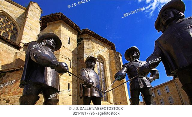 Statue of D'Artagnan and the musketeers at Condom, Gers, Midi-Pyrenees, France
