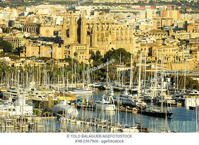 port of Palma de Mallorca and cathedral of santa maria de Mallorca, Palma, Mallorca, Balearic Islands, Spain