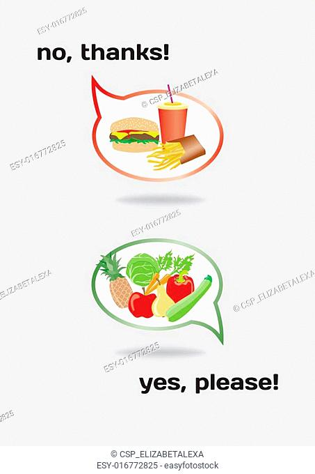 Food concept, healthy and unhealthy