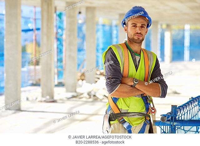 Construction Worker. Homebuilding. Donostia, San Sebastian, Basque Country, Spain