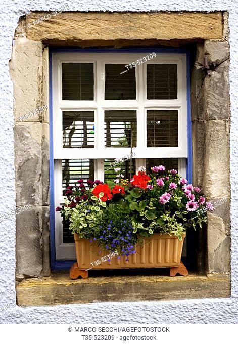 Window glass, Culross. Fife. Scotland. UK