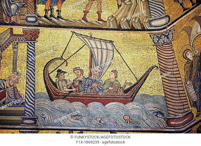 The Medieval mosaics of the ceiling of The Baptistry of Florence Duomo  Battistero di San Giovanni  showing the three wise men on their way to visit the baby...