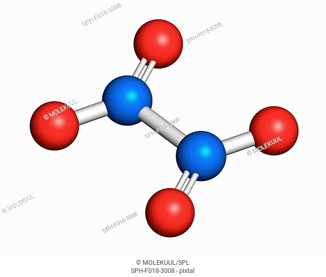 Nitrogen tetroxide (dinitrogen tetroxide, N2O4) rocket propellant molecule. 3D rendering. Atoms are represented as spheres with conventional colour coding:...