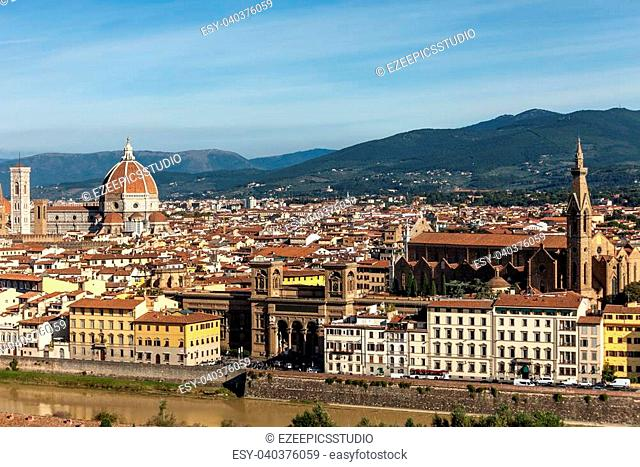 View Above Florence with Arno river, Basilica Di Santa Croce And Basilica Santa Maria Del Fiore