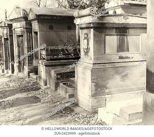 Tombs in Pere Lachaise Cemetery, Paris France, Europe