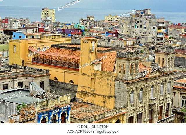 Street photography in Old Havana- View of Central Havana from the Parque Central Hotel roof