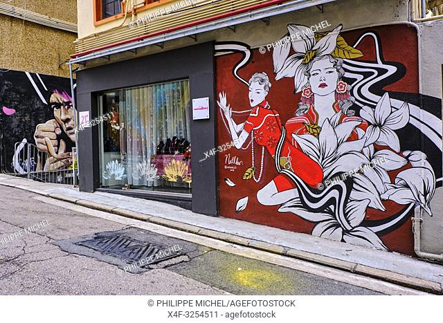 Chine, Hong Kong, Hong Kong Island, quartier branché de Soho, Hollywood road, peinture murale / China, Hong Kong, Hong Kong Island, Soho in Hollywood road
