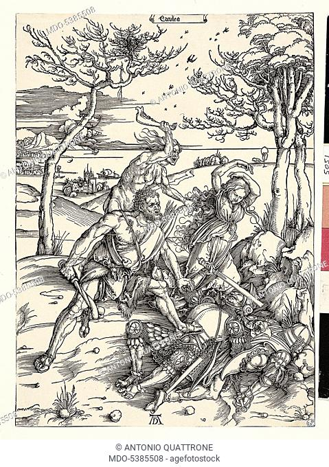 Hercules Killing the Molionides, by Albrecht Durer, 1496, 15th Century, xylography