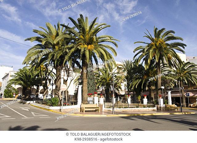 Plaza de España. Santa Eularia des Riu. Ibiza. Balearic islands. Spain