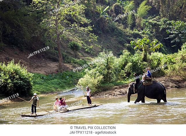 Thailand, Chiang Mai, Tourists River Rafting on Maetang River