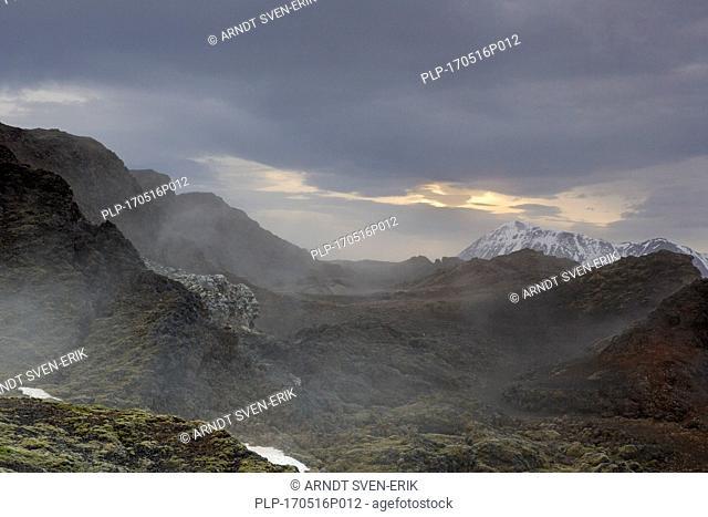 Leirhnjukur / Leirhnjúkur, lava field in the Krafla caldera in winter, Norðurland eystra / Nordurland eystra, North Iceland