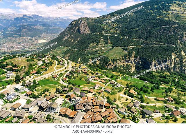 Aerial view of Swiss mountain village in Alps, Sion, Valais canton, Switzerland