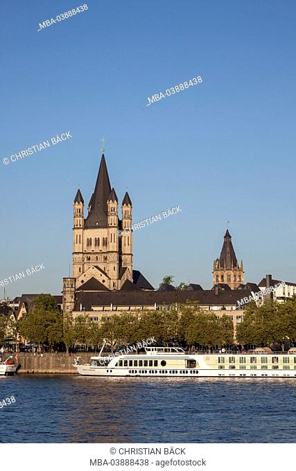 Steeple Church Groß St. Martin at the Rhine River, Cologne, North Rhine-Westphalia, Germany