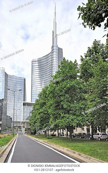 Porta Nuova, Unicredit Tower (by architect Cesar Pelli), Milan, Milano district, Lombardy, Italy, Europe