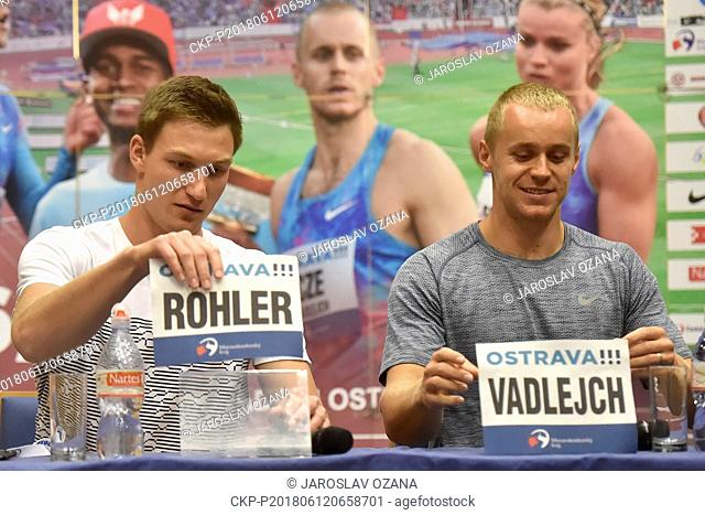 From left athletes THOMAS ROHLER of Germany and Czech JAKUB VADLEJCH speak during the press conference prior to the 57th Golden Spike athletic meeting in...