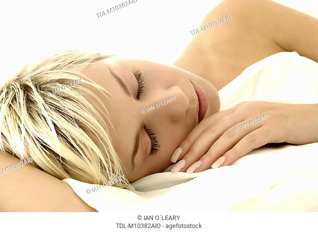 A woman sleeping, close up