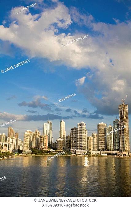 Punta Paitilla buildings reflecting in Panama Bay, Panama City, Panama