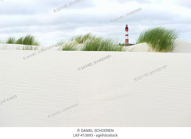 Lighthouse and sand dunes, near Nebel, Amrum, North Frisian Islands, Schleswig-Holstein, Germany