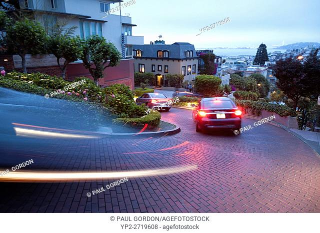 San Francisco, California: Long exposure of Lombard Street famous for its hairpin turns in the Russian Hill neighborhood