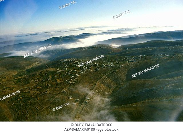 Aerial photograph of the hills of Samaria