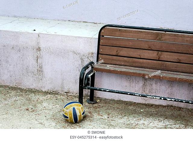 Photo has taken from a primary school at Bostanli/Izmir. Empty chair and the ball made a dramatic composition