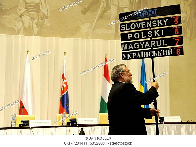 A technician prepares a press conference after meeting of presidents V4 states, at the Castle Bratislava, on Sunday, November 16, 2014
