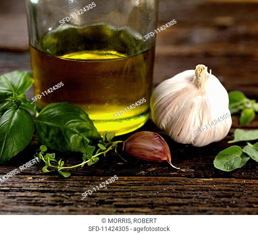italian herb dressing ingredients including garlic basil olive oil, thyme and sage