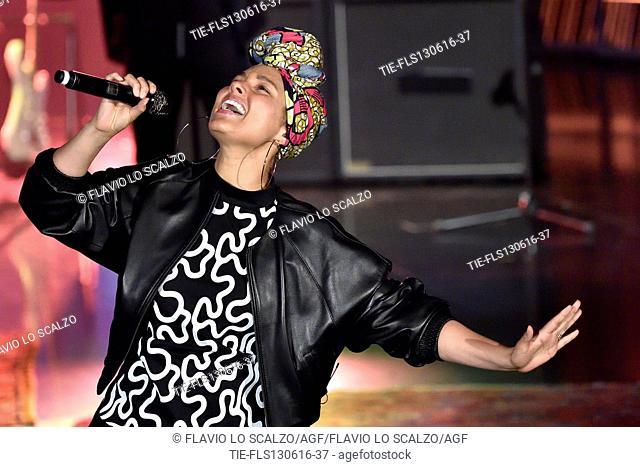 The singer Alicia Keys attends at tv show Che tempo che fa, Rome, ITALY-12-06-2016