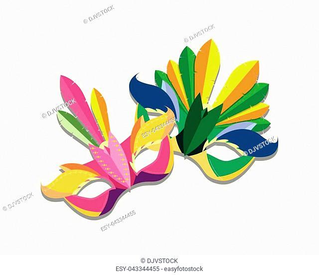 Carnival masks icon over white background, colorful design vector illustration