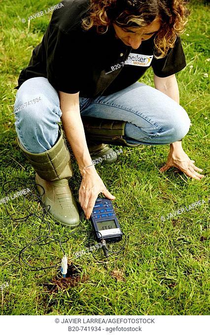 Measurement of soil redox potential, climate change research, Neiker-Tecnalia, Unit of Environment, Belate, Navarra, Spain