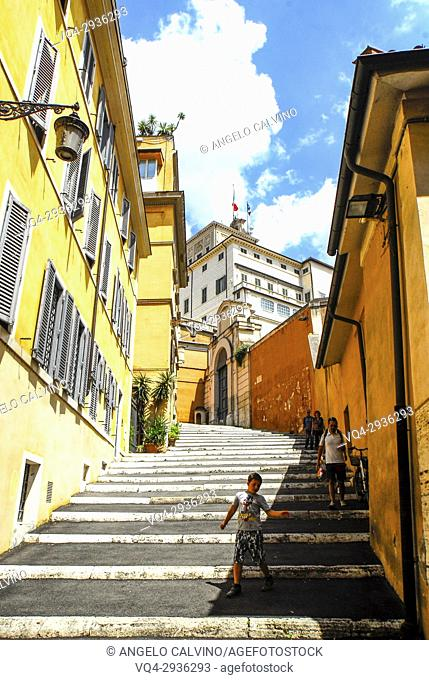 Steps towards the Quirinal Palace, Palazzo del Quirinale, official residence of the President, Rome, Italy