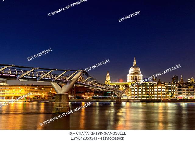 St paul cathedral with millennium bridge sunset twilight in London UK