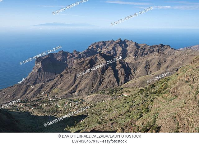 La Gomera landscape, breath taking Canyons and cliffs with La Palma island in the background, Canary islands, Spain