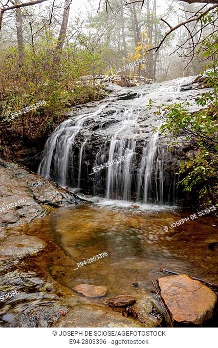 Waterfall in a forest in the winter, The Moss Rock Preserve, Hoover, Alabama USA