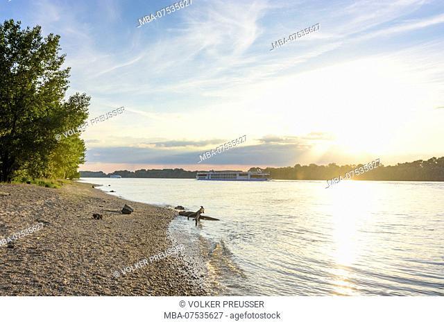 Esztergom (Gran), river Danube, beach, cruise ship in Hungary, Komarom-Esztergom, Danube Bend (Dunakanyar)