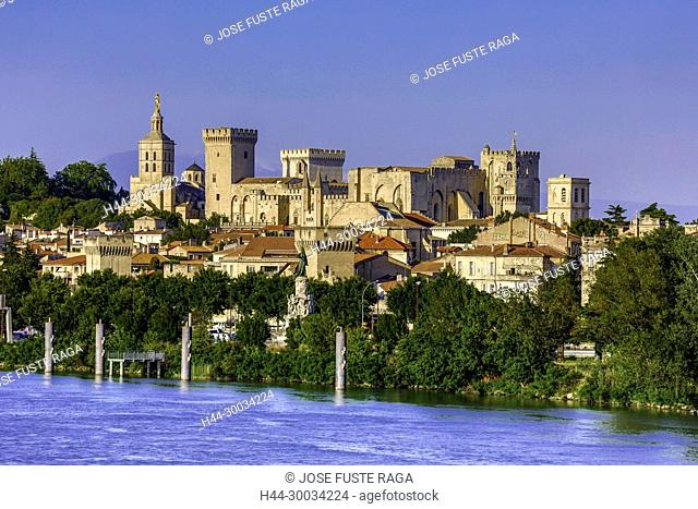 France, Provence region, Avignon city, the Popes Palace , skyline, Rhone river, W.H.